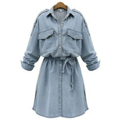 Flap Pocket Plain Denim Shirt Dress (2.810 RUB) ❤ liked on Polyvore featuring dresses, vestido, платья, shirt dresses, short blue dress, blue denim dress, long blue dress and blue shirt dress