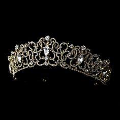 White and Gold Wedding Crown, Bride Tiara. Regal Gold Plated Rhinestone Wedding and Quinceanera Tiara - Affordable Elegance Bridal - Gold Hair Accessories, Wedding Accessories, Wedding Jewelry, Bridal Jewellery, Gold Jewelry, Jewlery, Bridal Crown, Bridal Tiara, Bridal Veils