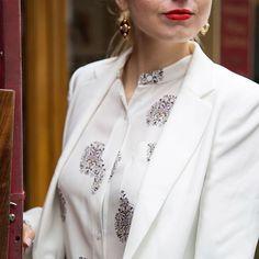 White blazer + silk blouse + red lip = new power suit.