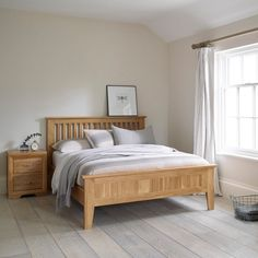 Bevel Solid Oak Double Bed from the Bevel solid oak range from Oak Furniture Land Solid Oak Furniture, Oak Bedroom Furniture, Oak Furniture Land, Wooden Bedroom, Furniture Design, Mirrored Bedroom, Furniture Dolly, Oak Double Bed, Solid Oak Beds