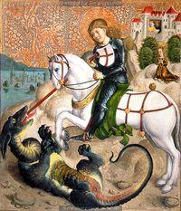 Dragon fight of St. George, 1500-1520. Institut für Realienkunde, Public Domain