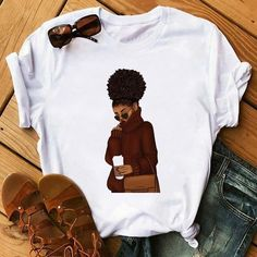 Harajuku, Cartoon Outfits, African Girl, Brown Girl, Cheap T Shirts, T Shirts For Women, Clothes For Women, Boutique, Spring