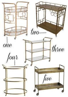 Dreaming about these versatile bar cart beauties! A free-wheeling beverage station would make a great addition to any host or hostess' home.