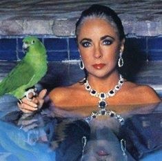 This is an arrestingly beautiful way to wear these earrings and necklace. Liz looks amazing. What I love the most is the pulled back hair revealing a tease of grey. Elizabeth Taylor knows how to rock that Diamonds in a swimming pool with a parrot look. Divas, Bijoux D'elizabeth Taylor, Most Beautiful Women, Beautiful People, Elizabeth Taylor Jewelry, Edward Wilding, Liz Smith, Violet Eyes, Photo Portrait