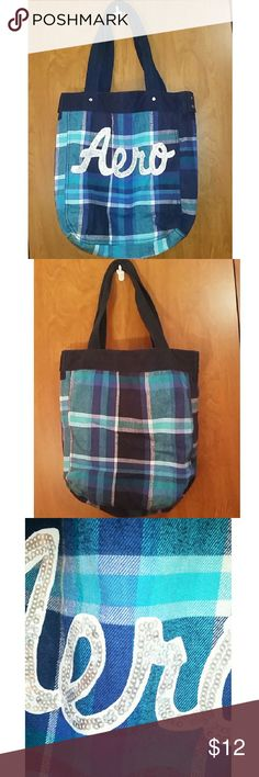 Blue Plaid Aeropostale Tote Bag Blue plaid Aeropostale tote bag Silver sequin letters Very good quality  Used as a school bag Great condition Aeropostale Bags Totes