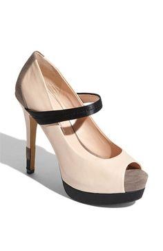 nude + black + platform + peep toe + mary jane = brilliant combination