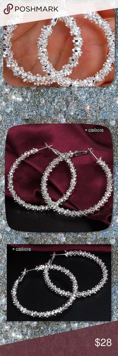 """JUST IN925 Silver Sparkly Hoop Earrings New 925 Silver Sparkle Hoop Earrings Length: 1.5"""" Weight:14g Color:Sliver Metal:925 Sterling Silver Plated PRICE FIRM UNLESS BUNDLED  ⭐️⭐️SORRY NO TRADES AND LOWBALL OFFERS WILL BE IGNORED ⭐️⭐️  ✂️LOWBALL OFFERS WILL BE IGNORED✂️ Glam Squad 2 You Jewelry Earrings"""