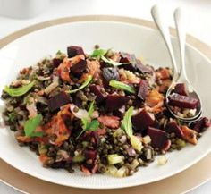 Bacon, beetroot and green lentil salad | Australian Healthy Food Guide