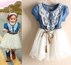Free Shipping Cowgirl Tutu Dress Denim Rodeo Barn Wedding Outfit Pink and White