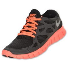Nike Free Run+ 2 Women's Running Shoes| FinishLine.com | Black/Reflective Silver/Bright Mango