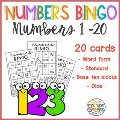 This bingo game helps students to practice number sense and various forms to represent 1 - 20. Perfect for math centers, early finishers and even as a whole class activity. No prep needed, just print and play. Laminate to reuse several times. Black and white makes it great to be printed on colored paper also. First Grade Curriculum, First Grade Science, Hands On Learning, Fun Learning, Elementary Math, Kindergarten Math, Math Resources, Early Finishers