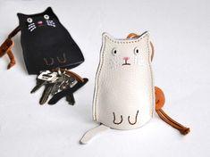 猫のキーケース 白ねこ|キーケース|よもぎや|ハンドメイド通販・販売のCreema