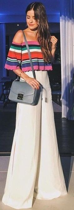 Wide leg pants + off the shoulders top = perfect summer outfit <3