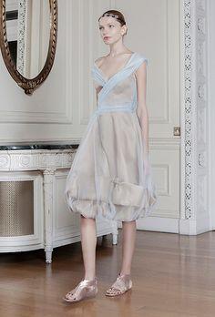 "Brides.com: . ""Auxo"" knee-length nude and blue organza A-line wedding dress with a v-neckline and cap sleeves, Sophia Kokosalaki"