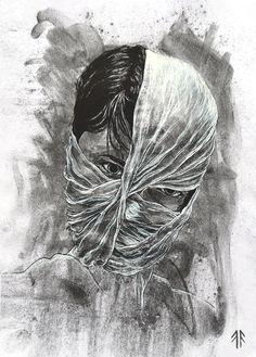 Self-Portrait (by Fikus), Technique: Coal and Ink