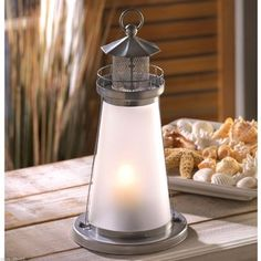 10- Nautical Theme Lighthouse Candle Lanterns W/ Frosted Glass ( Brand New)