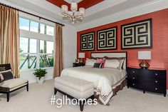 Red Modern Decor - Master Bedroom - New Homes in Florida - #glhomes