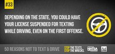 33 of 50 no texting Texting While Driving, Distracted Driving, Driving School, Dont Text And Drive, Trauma Center, Text Messages, Losing Me, Texts, Ads