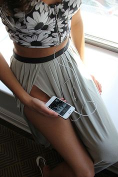 Black and white floral crop top and maxi skirt