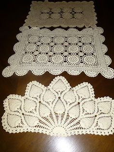 Lot of 3 Vintage Gorgeous Hand Crocheted Lace Doilies Table Covers White Ecru   eBay