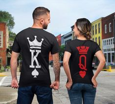 King Queen Shirts King and Queen T-shirts Couples Shirts Set King Queen Set Shirts Couple T-shirts Matching tshirts Valentines Shirts - Love Shirts - Ideas of Love Shirts - - Couple Tees, Matching Couple Shirts, Couple Tshirts, Matching Couples, Cute Couples, Family Outfits, Couple Outfits, King Queen Shirts, Single Party