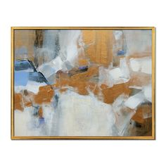 Hollywood Regency painting, Abstract,  gold cream white blue gray  Art on Canvas board by Victoria Kloch Titled Touch of Gold