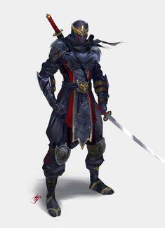 Ninja Warrior by Allen Song on ArtStation. Fantasy Character Design, Character Concept, Character Inspiration, Character Art, Ninja Rpg, Ninja Armor, Armor Concept, Weapon Concept Art, Guerrero Ninja