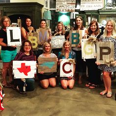 Spending time with neighborhood girlfriends at a Sweet Grass Private Workshop Event. Call us 704-663-5878 to inquire about scheduling one for you & your group of friends. #letsgetcrafty #neighborhoodfun #GNO #palletstwineandwine #palletart #lkn #lknfun #shoplkn #shopsmall #workshop