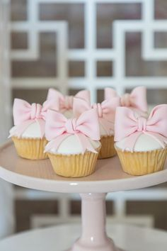 Ballerina Bow Cupcakes from a Pink + White Ballerina Birthday Party on Kara's Pa. Bow Cupcakes, 1st Birthday Cupcakes, Ballerina Birthday Parties, Cupcake Party, 3rd Birthday Parties, Birthday Ideas, Pink Birthday Food, Ballet Cupcakes, Ballerina Party Decorations