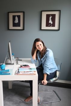 Dunn Edwards Cape Cod Blue walls // If this mama-writer were to have an honest-to-gosh home office, I'd paint it grey like Raluca did. Because rainy days are for words