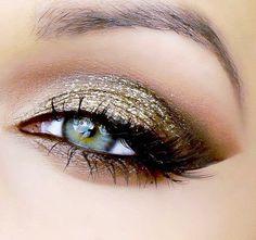 Dramatic gold eye makeup