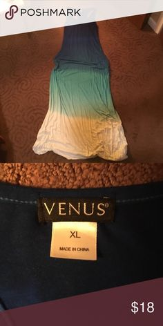 """Venus Long Racerback Tie Died Dress Long tie dyed dress with racer back. Worn a few times. Good condition! 96% rayon, 4% spandex. Gathers at hip area on both sides to hide """"tummy problems""""! Venus Dresses Maxi"""