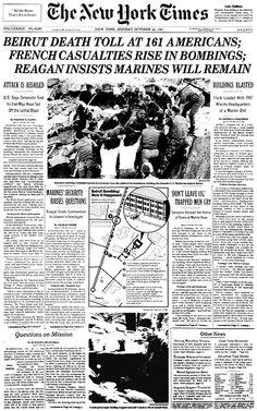 Headlines for Beruit barrack bombing - Google Search