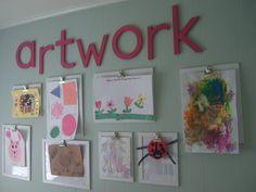 Kitchen wall kids artwork display