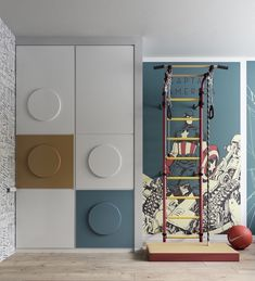 chambre d'enfant avec armoire inspirée des pièces Lego et coin d'entraînement