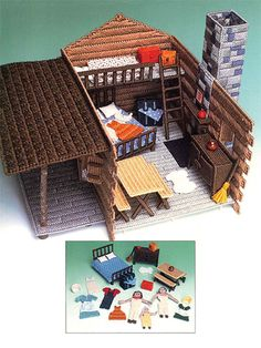 Pioneer Settlement create this fun pioneer home for your kids using plastic canvas