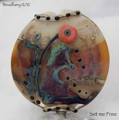 Set me free  large Lentil Focal bead earthy colors   by Beadfairy, $34.90