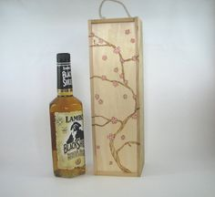 Wine Box - Wood Pyrography - Cherry Blossom Liquor Gift Box