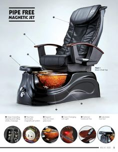San Marino Pipeless Pedicure Spa with Glass Bowl features the famous Shiatsu Massage Chair Top. This Pedicure Chair is a pipe-free jet system with 101 removable magnetic jet that is very easy to clean.