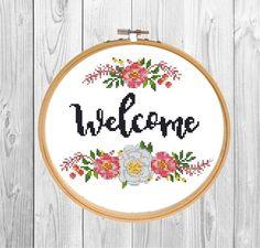 Welcome cross stitch pattern PDF/ Flower needlepoint chart/