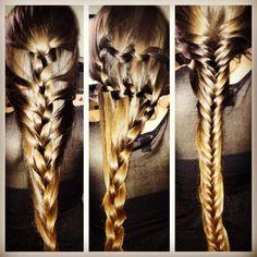 Mermaid braid, S-Braid & french fishtail on long long brunette hair French Fishtail, French Hair, Long Brunette Hair, Mermaid Braid, Hair Makeup, Braids, Hair Beauty, Hairstyles, Bang Braids