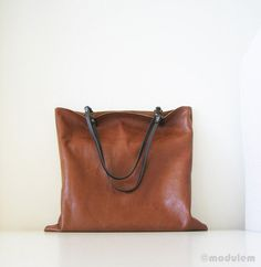 Reddish Brown Rustic Leather Book Bag tote urban chic by modulem, $170.00