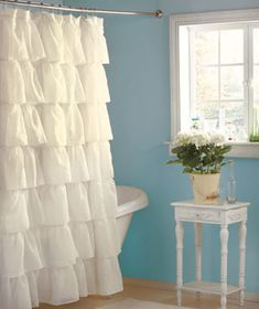 "Gypsy Ruffled Shower Curtains  - surely there is somewhere I can use these. only 72"" long though. $16.95 each"
