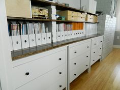 IKEA Sewing Room | little corner house: Ikea Dressers + Shelves for office/sewing room