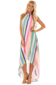 Multi Color Striped Hi Low Halter Dress with Neck Tie front full body Cute Boutiques, Fabulous Dresses, Color Stripes, Boutique Dresses, Diy Clothes, My Style, Tie, Beauty, Full Body