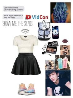 """""""At Vidcon w/ Nathan Triska"""" by nyla-mcclure ❤ liked on Polyvore featuring Lime Crime, Topshop, Converse, Bobbi Brown Cosmetics and Disney"""