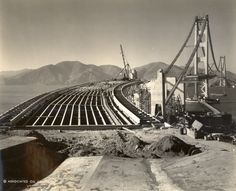 Golden Gate Bridge construction, before the roadway was poured, October 12, 1936. Compare with the opening 7 months later here: http://pinterest.com/pin/151715081167064100/