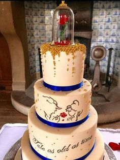 Find Here, 30 Beautiful Disney Inspired Wedding Cakes Beauty And The Beast Wedding Cake, Beauty And The Beast Theme, Wedding Beauty, Beauty Beast, Beauty And The Beast Cake Birthdays, Dream Wedding, Spring Wedding, Beauty And The Beast Cupcakes, Beauty And The Best