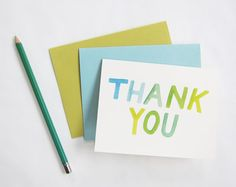 Watercolor thank you cards via High Plains Thrifter