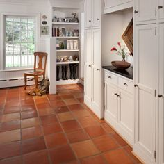 love the hexagon saltillo tiles and kiva fireplace dark beams and